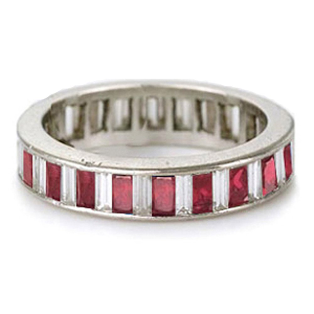 14k Bagguette Diamond Ruby Eternity Ring (2.72.cts.tw)