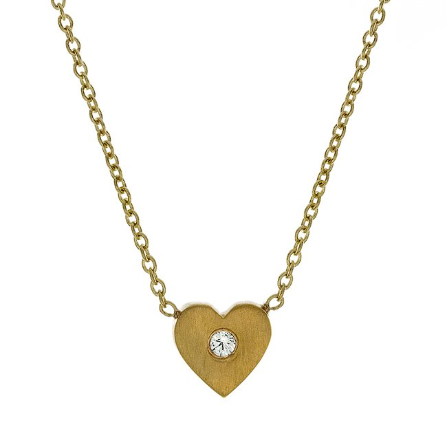 14k Mini Diamond Heart-Shaped Necklace (0.02 ct.tw)