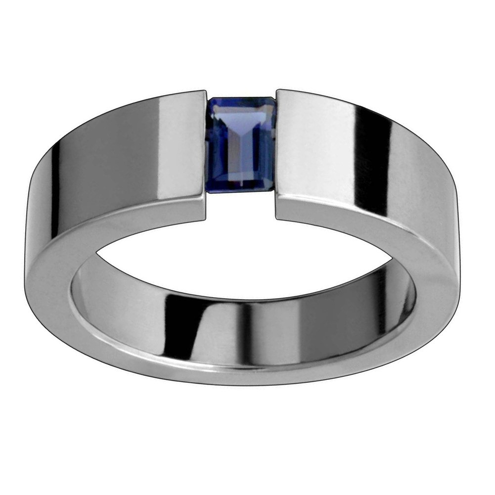 14k White Gold Emerald Cut Sapphire Cigar Band (0.50.ct.tw)
