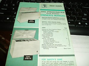 1961 Frigidaire Food Freezer Owners Manual- Great piece of Americana--------