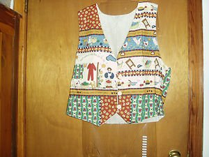 Handmade Clothes Line, Outside, Chickens Fully Lined  Vest L