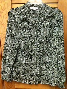 Sag Harbor Black & Gray Long Sleeve Blouse Size Medium