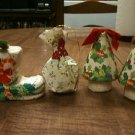 Set of 4 Vintage/Antique ?? Paper Mache Christmas Ornaments - Free Shipping