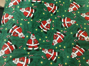 Fabric Material for Sewing Quilting Crafts Christmas Santas 2 Yards - New