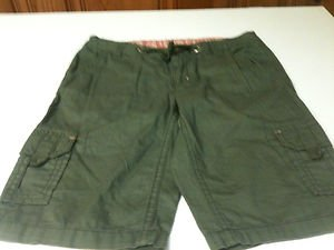 Girls Faded Glory Army Green Cotton Carpenter Shorts- Size 10
