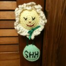 """SHH"" Baby is Sleeping Flower with Eyes Closed Door Knob Cover Hanger Hand Croc."