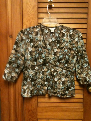 Christopher & Banks Semi Sheer 3/4 Sleeve Button Front Blouse Top Size M CUTE!!!