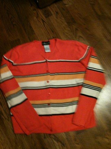 Sag Harbor Stripe Button Front V-Neck Cardigan - Size XL = L@@K!!