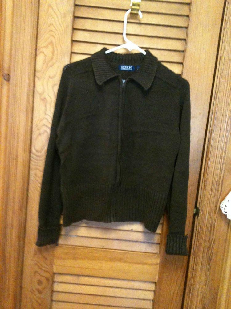 Honors Dark Brown Zip Front  Sweater Cardigan Jacket - Size XL