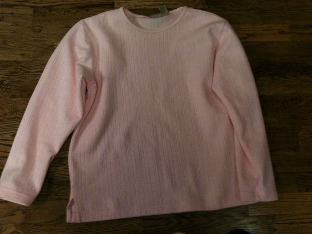 Womens Mountain Lake Pink Warm Ribbed Round Neck L/S  Shirt Top  Size Large EUC