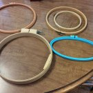 LOT OF 5 HOOPS OVAL & ROUND FOR CROSS STITCH, EMBROIDERY, CREWEL, NEEDLEPOINT