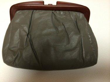 Gray Leather?? Purse/Clutch/HandBag with Melamine/Tortoise Shell/Bakelite?? Trim