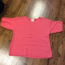 Bobbie Brooks Short Sleeve Coral Ribbed Knit Summer Sweater Size XL