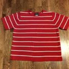 Women's Red & White Sag Harbor Woman S/S Round Neck  Sweater - 1x