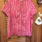 Stripe Short Sleeve/Button Front/ Pleated Stand Up Collar Top Cato Woman 18/20W