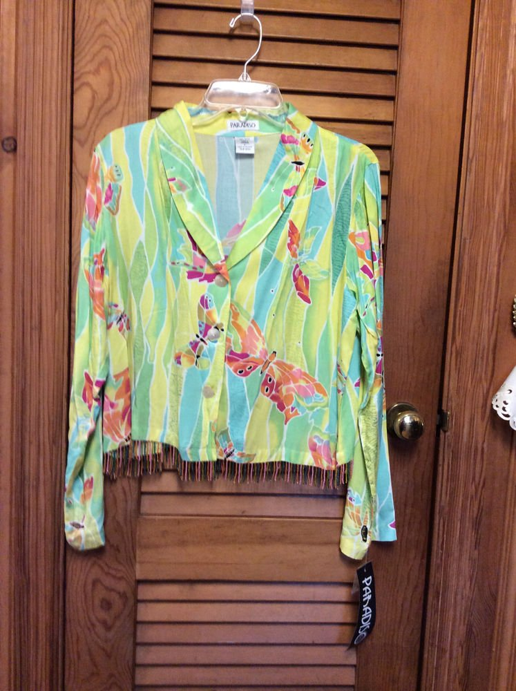 PARADISO Resort Wear L/S Shawl Collar Beaded Trim Button Front Jacket L MSRP $89