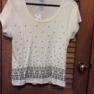 Graphic Olive  Print Cream B.Moss Top Tee Blouse NEW with Tags Size L MSRP $18