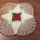 Vintage Hand Crocheted White with Red Flower, Green Leaves Dollie w/Red Edges