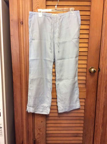 Women`s OLD NAVY Gray Pants Draw String Waist Wide Leg 100% Linen 4 Pocket Sz 10
