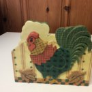 Rooster Napkin Holder by Housewares Coordinates-Hand Crafted, Hand Painted- EUC