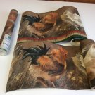 Chicken rooster hen plaid green bands wallpaper border Norwall CY72650 + Other