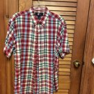 Men's OCI Plaid Short Sleeve Button Front Red Plaid Shirt - Size Large