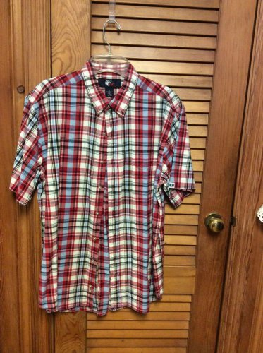 Men's OCI Plaid Short Sleeve Button Front Red Plaid Shirt - Size Large