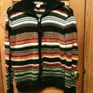 Mountain Lake Black Stripe Sweater Jacket Zip Front (Gorgeous Colors) Sz Large