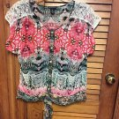 New Directions Semi-Sheer Lace Inserts Button Front Tie Waist Print Blouse Large