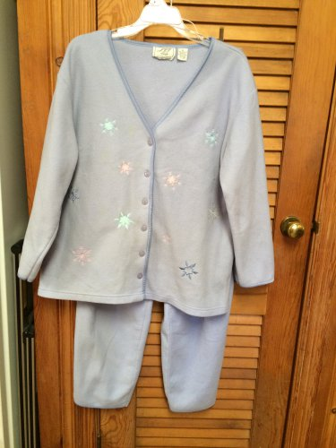 JIT SLEEP Lavender  Embroidered Pebble Fleece Womens Pajama Set Top Pants XL