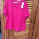 Hannah Woman Stretch Very Berry V-Neck Top NWT 2X