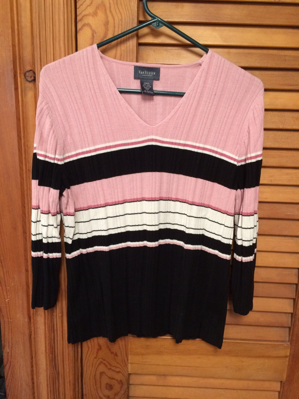 Van Heusen Women Silk/Cotton V Neck 3/4 Sleeve Sweater Large
