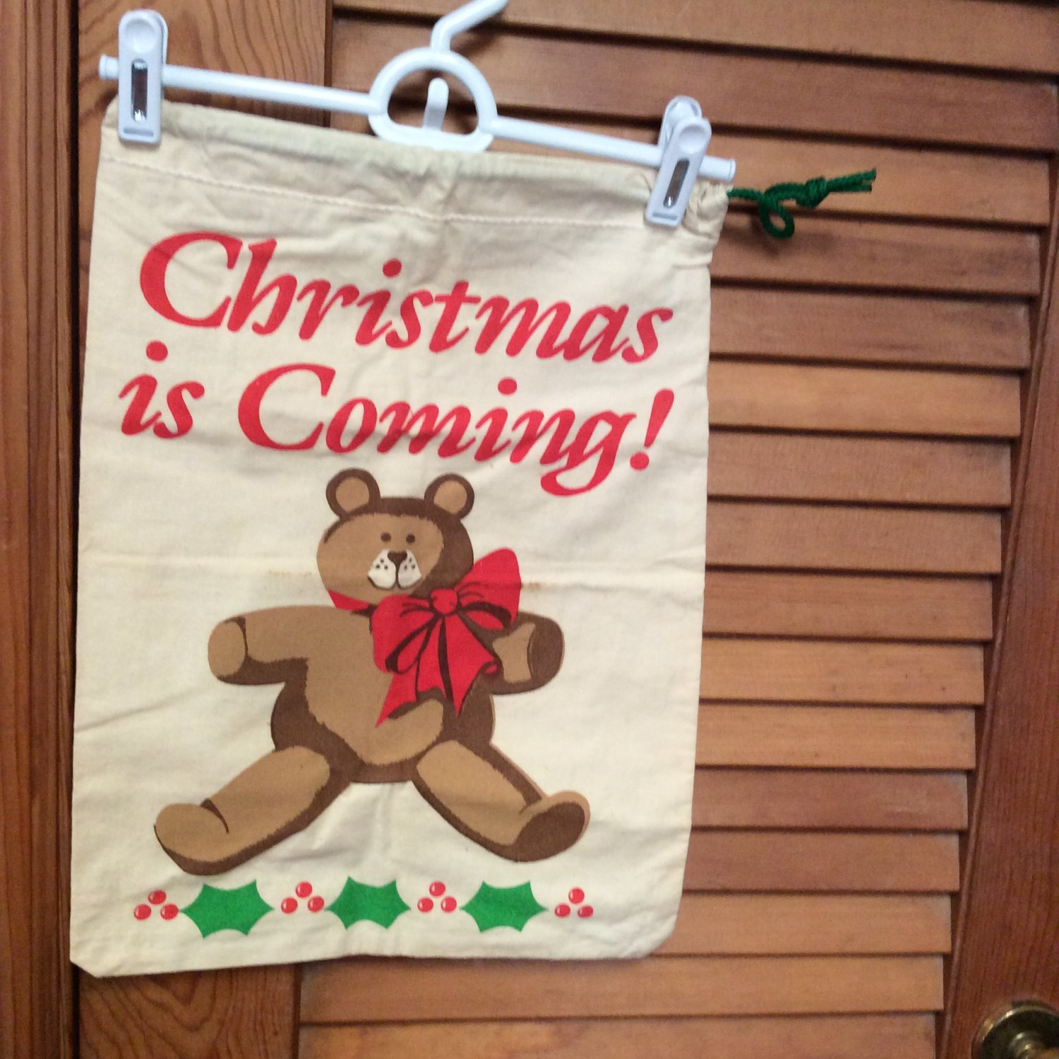 """2 -""""Christmas is Coming"""" Cotton Drawstring Gift/Decoration Bags 12.4"""" x 16"""""""