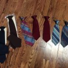 "8 Boys Clip on Ties 10,12,14"" Various Lengths Colors- 2 w/pocket Handchiefs"