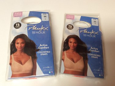 2 pkg NEW Playtex 18 Hour Active Comfort Convertible Straps Bra #5452 Size 38B