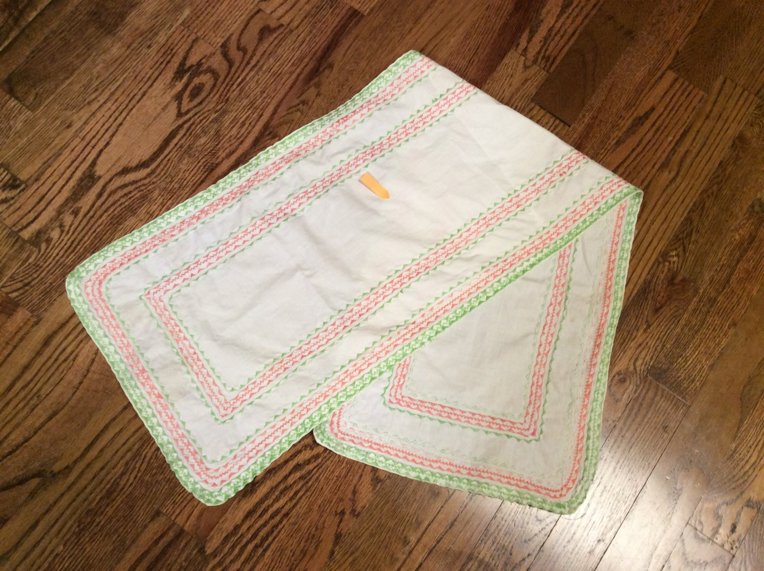 """39.5"""" Cotton Embellished Table Runner, Scarf - Green & Peach (Possibly Homemade)"""