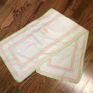 "39.5"" Cotton Embellished Table Runner, Scarf - Green & Peach (Possibly Homemade)"