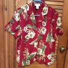 Alfred Dunner Floral Burgundy/Wine S/S Button Up Top Blouse Jacket Sz 14