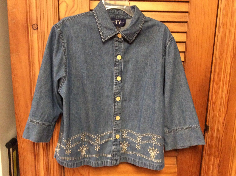 Original TY Wear Cotton Denim Embroidered Blue Jean Jacket Shirt Sz 16W