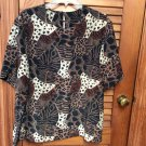 Southern Lady Cheetah Animal Jungle Print Blouse Top S/S size 16