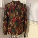 Southern Lady L/S Sienna/Rawhide Button Front Blouse top Size Small
