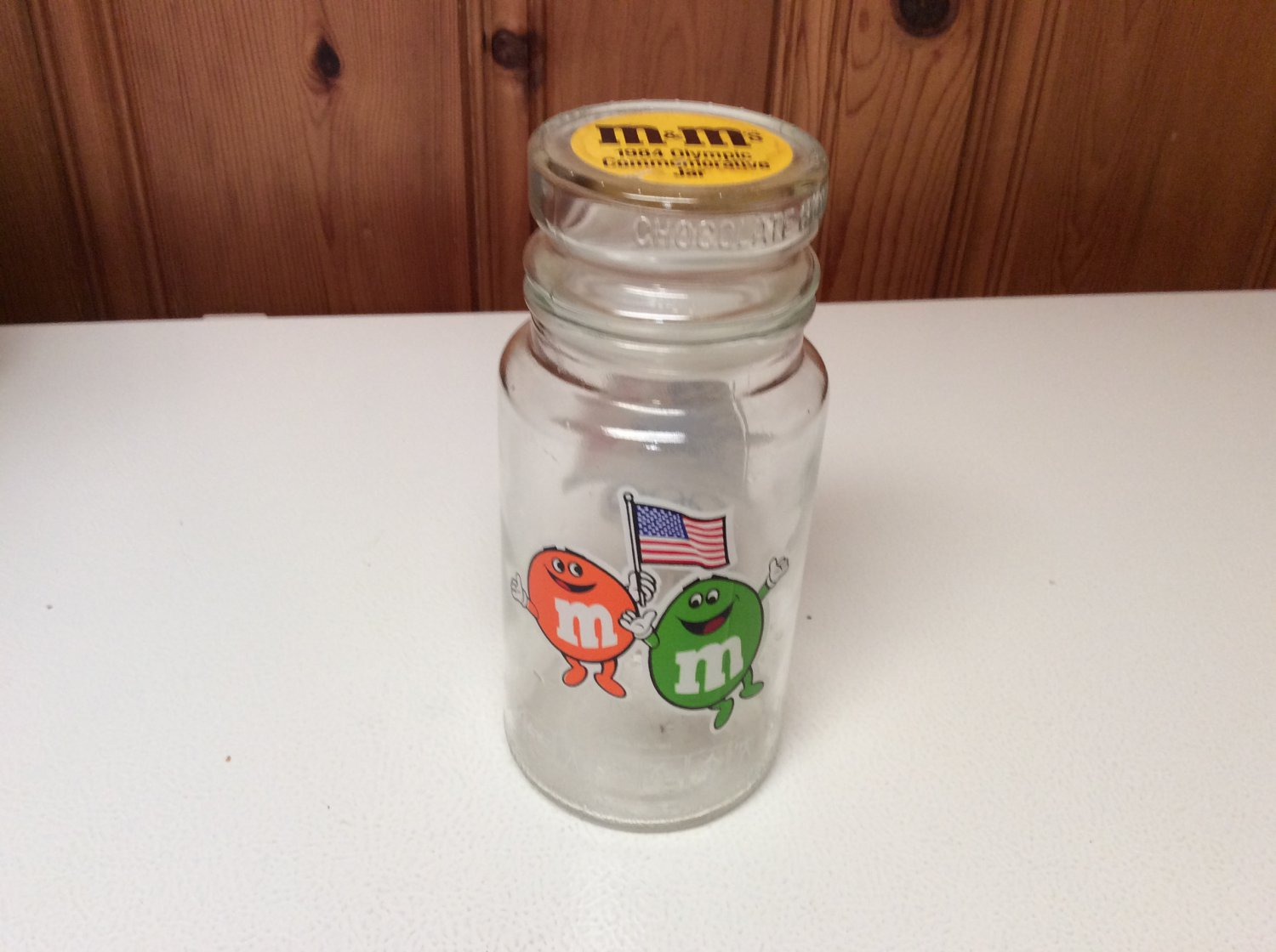 VINTAGE M&M's Commemorative Collectible Glass Jar w/Lid -1984 from L.A. Olympics