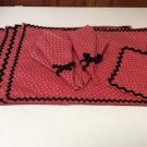 Set Hand Crafted 4 Place Mats 4 Napkins 1 Pot Holder Red w/ Black Rick Rack