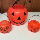 "Vintage Plastic Orange Jack O Lanterns Trick or Treat - 1-8"", 2-4"" Tall"