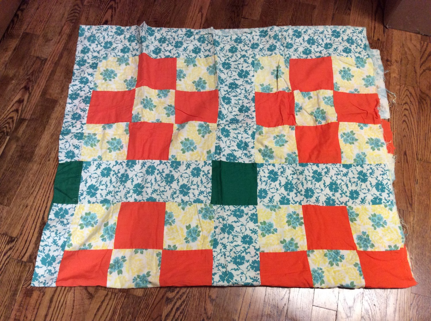 Vintage Hand Stitched Unfinished Colorful Block Floral Print Quilt Top
