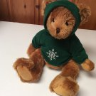 Ritz Camera Co Teddy Bear Plush Toy by Russ Berrie Snowflake Green Hoodie 18""