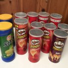 Lot of 10 Empty Pringles Lay's Stax Cans w/Lids Arts Crafts Storage Nuts Bolts