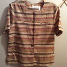 Alfred Dunner S/S Jacket Blouse Top Brown Stripe Button Front Size 12