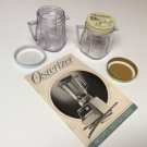2 Osterizer Mini Blend Storage Jars w/3 lids-Recipes/Instructions Book 1985