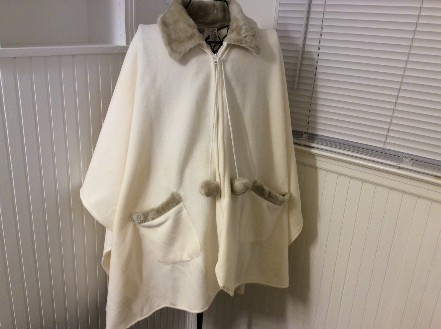 Ladies Fleece Cream Ivory Winter Cape Poncho Wrap by LeModa One Size Fits Most